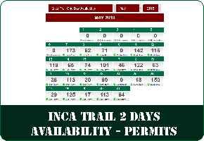 Short Inca Trail to Machu Picchu 2 Days  - Availability  Calendar - Permits