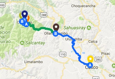 Short Inca Trail 2 Days Map - Distance