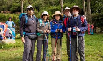 Hikers on lares trek first day