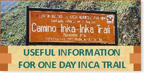 Useful Information for One Day Inca Trail to Machu Picchu
